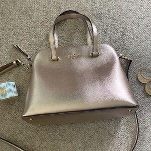 Kate Spade purse gold metallic nwot Med  satchel